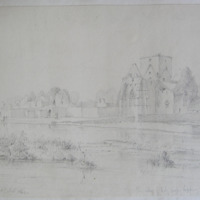 The Abbey of Holy Cross Tipperary. On the river Suir. Looking S.W. Geo V Du Noyer Aug 1840