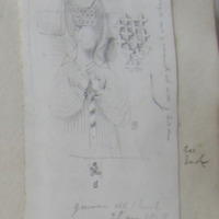 Gowran old church. 29 August 1848. enlarged view of ornament at side of headdress