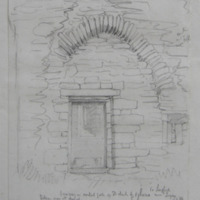Doorway in central gable of old church of Agharra Co. Longford near Legan. Sheet 34/3. East window and part of the stone altar in the distance