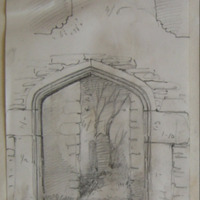 Slane Abbey. Doorway in Tower West end of Church [Plan and Elevation]