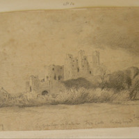 Water Tower and Barbican Trim Castle. 16 Sept 1859. The Keep beyond. Tower. River Boyne