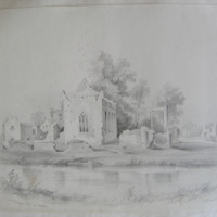 Athassel Abbey on the river Co. Tipperary. Geo V Du Noyer Delt. Oct 1840