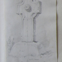 Cross at Nurney Co. Carlow. 8th August 1848. facing SSE NNW [measurements on elevation]