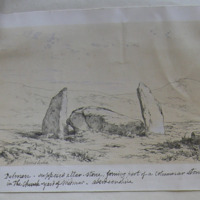 Dolmen, supposed Altar stone, forming part of a columnar stone circle, in the church yard of Midmar, Aberdeenshire; Forbes Leslie