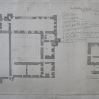 Plan of Fore Abbey and Gateway. Co. Westmeath. 13th May 1864. Geo. V. Du Noyer. [annotated plan, unscaled]