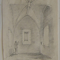 Interior of castellated church. Clonmines. Looking East. Geo: V DuNoyer. 1860