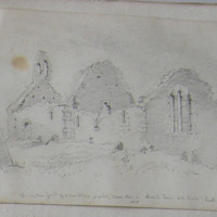 The windows formed of a sandstone resembling Caen stone in Church Town old church, Hook Wexford April 1855.