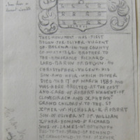 From the east wall of St. Mary's Church, Fore, Co. Westmeath. Geo. V. Du Noyer, 4 May 1864 [heraldic plaque] Horse shoe or lunette inverted