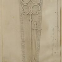 From the graveyard of Stackallen Church Co. Meath. found by me. June 1866 [scaled drawing]