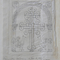 Ex: 99. Croix greeque a double Traverse Sculpture d'athines XI Siecle; Termographie chretienne Histone de Dien, Page 398, Par. M. Didron Pain, 1843; … [?] the chief Western Doorway of a church at athens