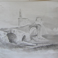 Old bridge and barbican of the Anglo Norman Abbey of Athassel - on the Suir Co. Tipperary. Geo V Du Noyer. Aug 1840