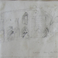 Mellifont. Choir of Abbey Church looking N.E. June 1866 [recte Chapter House]