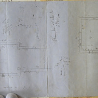 Banager Old Church Co. Derry [measured plan and moulding profiles]. Plan. Moulding of window inside. Moulding of doorway