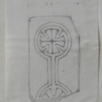 Fragment of the Caldragh Stone - N of Fox Hall Co. Longford. Td. Of Killeen. Sheet 20/34. 23 June 64 [scaled plan] [cross slab]