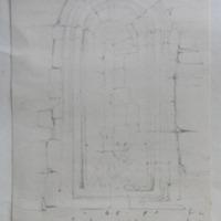"inside, ""East window of a church nr Enniskillen"" (Index)=Devenish (Fern)… [Teampull Moor] S. window Ann Hamkin); from opening of arch to bottom moulding 6f-10in; 4-5 … width; from opening of arch; … thickness of wall 2-4"