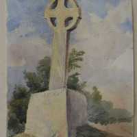 facing due East. Granite cross on road side at old church of Tullo Co. Dublin. 4 Nov 1860