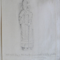 Black marble effigy of Milo McGrath. Second protestant archbishop of Cashel dated a.d. 1621. from the old cathedral Cashel. Oct 1840
