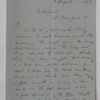 [letter from Du Noyer of the Geological Survey of Ireland, dated: 2 August 1863]. At Waterford,