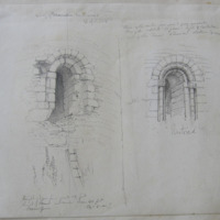 Doorway of Dromiskin Round Tower, 26 April 1848; length of door from ground 13 feet, hight of tower not more than 40 feet, … [?] 54-5-in!!; Restored