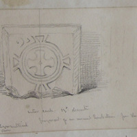 "Fragment of an inscribed tombstone from the old church of Dowth Co. Meath. Outer circle 13"" diameter. Feb 19 1845."
