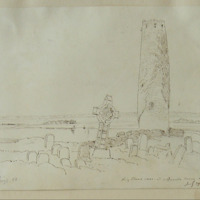 King Flans Cross and O'Ruark's Tower Clonmacnoise July 29 1847. King's Co
