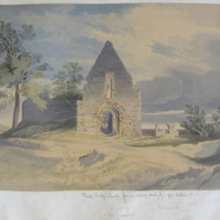 Ideal Irish Church from a colour drawing by Geo: Petrie. Monaincha. Unfinished