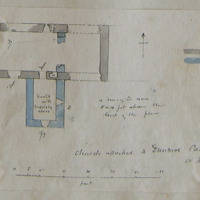 Church attached to Dunmoe Castle Co. Meath. June 1866 [scaled plan] a doorway or recess 8 or 10 feet above the level of the floor.