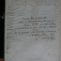 Hand-written description of the contents of volume of watercolours based on the Waterford Charter roll of 1371