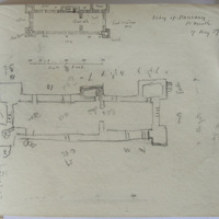 Abbey of Dunsaney, Co. Meath, 17 May 59 [scaled plan, and sketch plan]