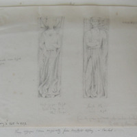 Female cross legged effigies. From the graveyard of the modern Cathedral Cashel. The lids of stone coffins. HACKET FILIA.