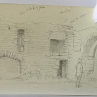 door and stairs; door to temporary floor, chimney [Buttermilk Castle?]