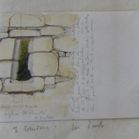 Exterior window S side Agha old church Co. Carlow. Throughout the west front of the masonry… the granite blocks forming the wall. ..