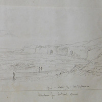 from a sketch by Mr Wakeman; Dunluce from Portrush Strand