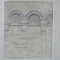 Cormac's Chapel. Exterior of N side. Blank arcades
