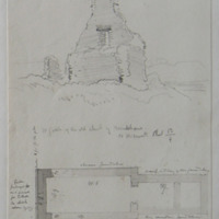 W gable of the old church of Mulchans Co. W. Meath. Sheet 13/4 [w gable elevation]