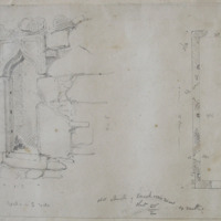 old church of Knockcommon Co. Meath Sheet 26/2. 9th May 1866. Window in S wall [and Ground Plan]