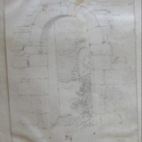 N doorway. Dowth old church Co. Meath [elevation and plan of jamb]
