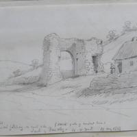 East gate of ancient town. Interior view. Ancient gateway. On orad side South of Fore Abbey Co. W Meath. 17 May 1864