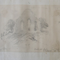Crook old church Co. Waterford. Near Passage. East gable. August 1862. [and sketch plan]