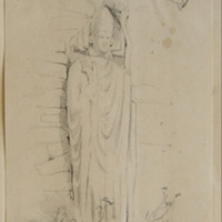 Effigy built up in the wall of the Courtyard. Slane Castle. Oct 25th 1845. 5ft4in high at present, 1-9 across shoulders