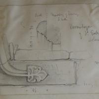 Hermitage of St. Erk Slane Demesne. Hood moulfing of doorway S wall; [label stop]. May 66