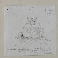 Mutilated granite cross and plinth on the road side S of Kill of the Grange old church. 21 May 1860. East face