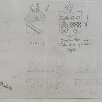 [shields of:] Stirling; Dorathy Ross, wife to John Ross of Coleraine, 1713; ne oblivisick, Cochran, 1760; Bellyvillan old Church [medieval door and windows]. ? Villan old church Co. Derry or Antrim?