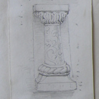 Pilaster of sandstone in high relief. From Chapel wall Fore Co. W. Meath. May 1864