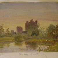 Trim Castle Co. Meath. GVD 1859. Aug 1859. Geo V Du Noyer. Evening