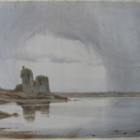 [unidentified tower house or castle on inlet]