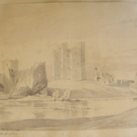 Trim Castle from the NE. Geo. V Du Noyer Delt. Dec 29 1843. The water gate and tower