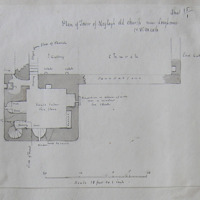 Plan of the church of Moylagh old church near Loughcrew Co. W Meath. Sheet 15/1 [scaled annotated plan]