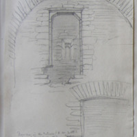 Doorway in the interior (SW wall) leading from the stairs to the 2nd floor or loft under the vault or arch. Old castle of Newcastle near Castleopollard
