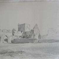 """The Hoar Abbey Cashel. The """"rock"""" in the distance. Geo: V Du Noyer. Oct 5 1840"""